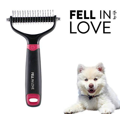 riijk Pflegebürste für Hunde, Tierhaarbürste für die Unterfell-Pflege, Hundebürste für Langhaar Tiere