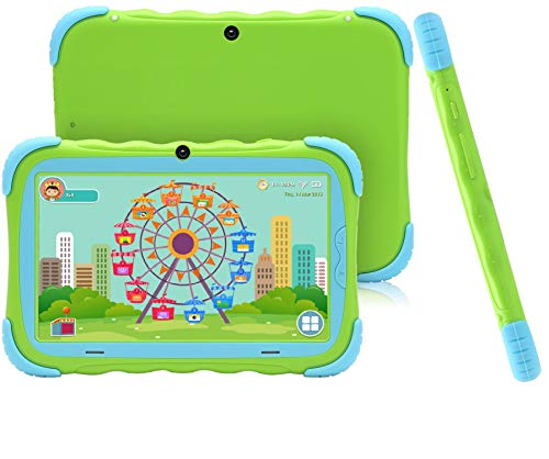 Tablet da 7 Pollici Android 7.1 Tablet IPS HD da 1GB/16GB Babypad Edition PC con Wifi e Fotocamera e Giochi Google Play Store Bluetooth Custodia per Bambini Certificata GMS(Verde)