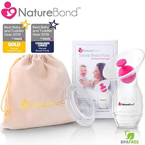 Tire-lait manuel en silicone NatureBond pour allaitement / Bouchon de tire-lait en BONUS, couvercle, pochette, sac...