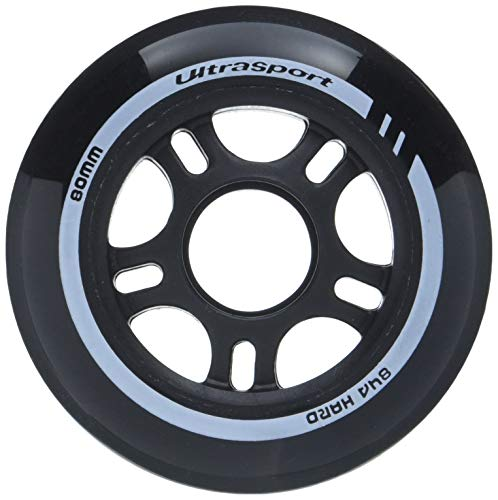 Ultrasport Inliner-Rollen, mit guter Haftung, für drinnen und draußen geeignet, 4er-Set in schwarz mit 80 mm Durchmesser