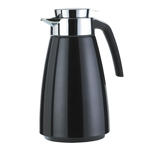 Emsa 513815 Isolierkanne (Edelstahl 1.5 Liter, Aroma Diamond, Quick Tipp Verschluss, Bell) schwarz