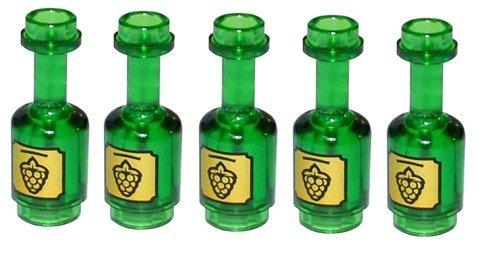 5 x LEGO® Figuren, Zubehör Flasche Transparent Grün (Lego Flasche)