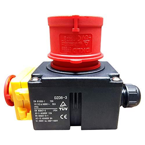 Schalter- Stecker Kombination DZ08-3 400V mit NotAus Klappe und Phasenwender -Baugleich: KOA7