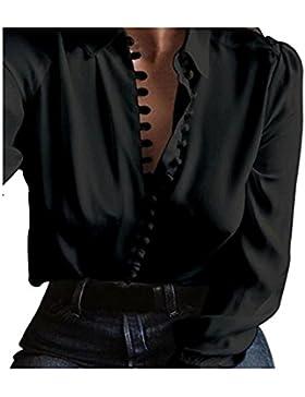 Venmo Mujer Básico Color Puro Manga Larga Boton Slim Fit Solapa Camisa