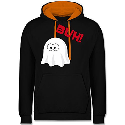 Halloween - Kleiner Geist Buh süß - Kontrast Hoodie Schwarz/Orange