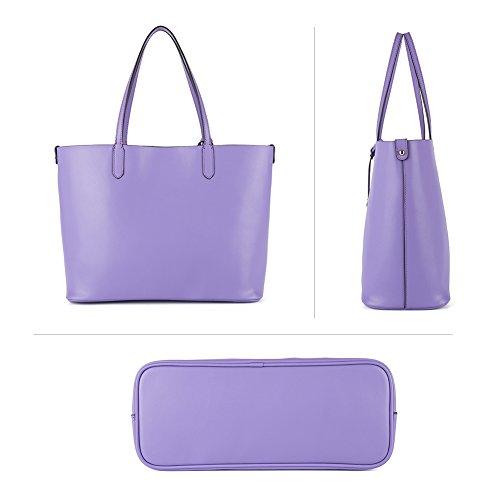 NAWO Designer Handtaschen Leder Schultertasche Shopper Umhängetasche Tote Bag Taschen für Damen Weinrot Lila