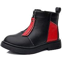 zj Botas de Martin para Niños Otoño E Invierno Moda de Cuero para Niñas Botas de Martin Botas Individuales para Niños en Los Niños Grandes, Más Botas de Algodón, Zapatos para Niños,Negro Rojo surt,32