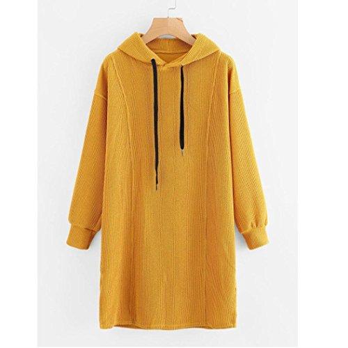 Femmes occasionnels hiver chemise Coloré(TM) robe dames manches longues mini robe Jaune