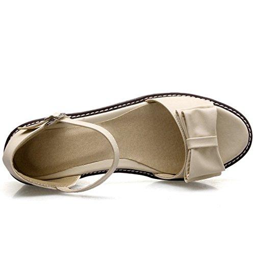 TAOFFEN Femme Decontrracte Sangle de Cheville Boucle a Talons Sandales Ete Bow Joli Chaussures Beige