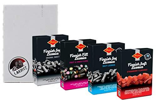 Geschenkset Halva Lakritz-Box Lakritz und Fruchtgummi aus Finnland (4 x 200 g in Geschenkverpackung)