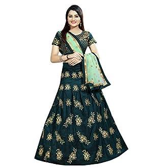Alazra Creation Women's Silk Lehenga Choli (Green,Free Size, Semi-Stitched)