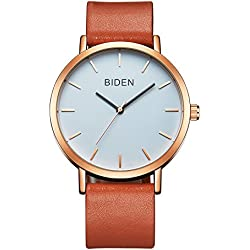 ALPS Womens Mens Unisex Waterproof Simple Casual Analog Quartz Brown Genuine Leather Band Dress Wrist Watch