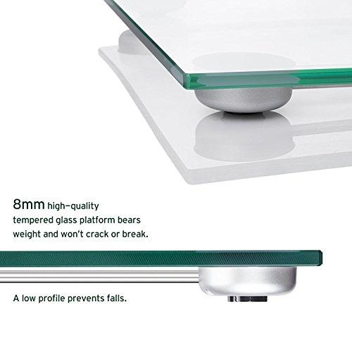 Etekcity 4074C Báscula de Baño Digital de Alta Medición Precisa 180kg / 400lbs con 300 x 300 x 18 mm Gran Plataforma y LCD Retroiluminación  Cinta Métrica Incluida  Vidrio Transparente