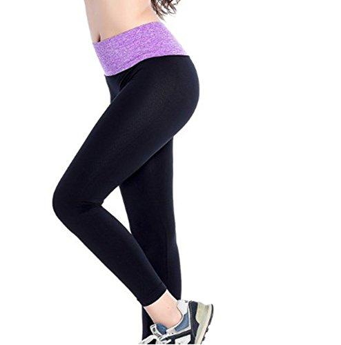 Leggings de yoga pour femme Leggings de sport extensible Violet
