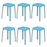 Furnish 1 Lot de 6 tabourets en Plastique PP 32x32x45.5 cm avec Assise et Base en métal Empilable Bleu