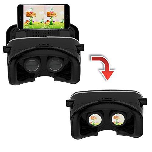 3D-VR-Brille, YSSHUI 3D-VR-Headset mit Bluetooth-Fernbedienung Karton Virtual Reality Handy 3D-Filme Spiele mit Harz-Objektiv für 4,7-6,0 Inch Handys