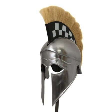 Antique Replica Corinthian Black Plume Armor Helmet - Checkerboard