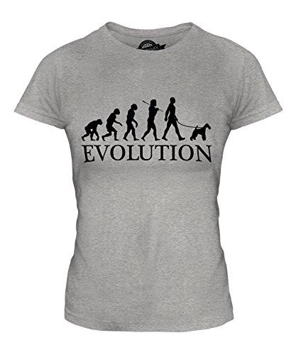 CandyMix Wire Fox Terrier Evoluzione Umana T-Shirt da Donna Maglietta Marne Grigio