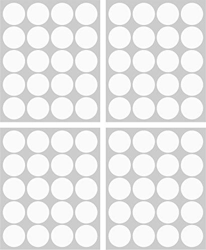 80adhesivos, 40mm, color blanco, funda de PVC, resistente a la intemperie, LabelOcean círculos puntos Pegatinas