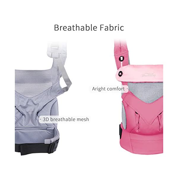 SONARIN 4 in 1 Breathable Baby Carrier,3D Breathable mesh,Sunscreen Hood,Ergonomic,for Newborn to Toddler(3-48 Months),Maximum Load 20kg,Front Facing Baby Carrier,Suitable for Summer(Pink) SONARIN Applicable age and Weight:3-48months of baby, the maximum load:20KG, and adjustable the waist size can be up to 47.2 inches (about 120 cm). Material:designers carefully selected soft and delicate breathable mesh.Enhanced breathability,Soft machine wash,do not fade,ensure the comfort,high strength,safe and no deformation,to the baby comfortable and safe experience. Description:Patented design of the auxiliary spine micro-C structure and leg opening design,natural M-type sitting.Adjustable back panel that grows with baby and offers head and neck support with sleeping hood that provides UV50+ sun protection. 3