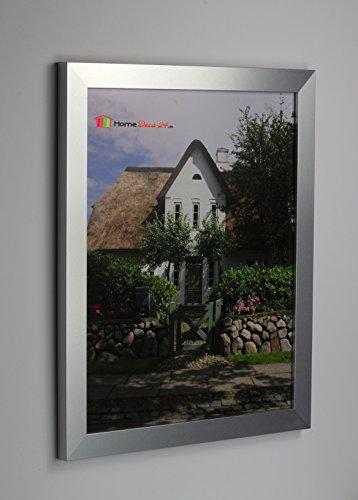 Homedeco-24 Narvik Bilderrahmen im Bauhaus Stil, eckig und stabil 33,7 x 48,5 cm Größen Auswahl 48,5 x 33,7 cm hier: Farbe Alu gebürstet Dekor Ohne Verglasung