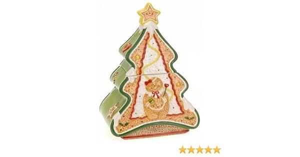 Ceramic Christmas Tree Storage Pot Cookie Jar Biscuit Tin 26cm