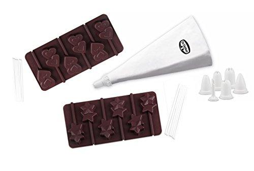 Dr. Oetker Silikon-Set Schoko-Lollis, Formen aus hochwertigem Platinsilikon, eigene Herstellung von süßen Köstlichkeiten, mit Spritzbeutel und 6 Tüllen für edles Dekorieren (Menge: 1 x 35er Set)