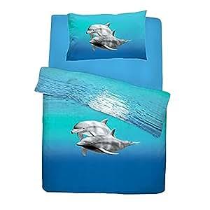ensemble de literie dauphin lit double bleu cuisine maison. Black Bedroom Furniture Sets. Home Design Ideas