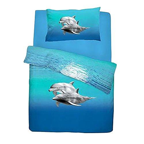 Ensemble de literie dauphin (Lit double) (Bleu)