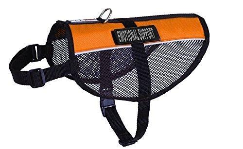 Dogline maxaire Mehrzweck-Mesh Weste für Hunde und 2abnehmbaren Emotionale Unterstützung Patches, groß, orange (Orange Patch Hund)