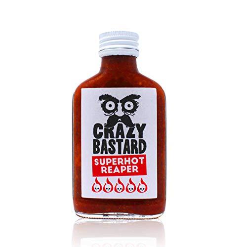 Crazy Bastard Superhot Reaper - Ultra scharfe Chili-Sauce mit 50{3f0c61a0546114a842292899005d27276b36a91f3e7c2e1a1f6119a5cba4447e} Carolina Reaper Chili