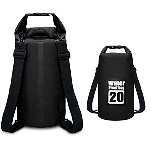 Gemcoo borsa impermeabile 10l / 20l borse stagna dry bag per rafting viaggio kayak canoa nuoto pesca campeggio snowboard ect attività all'aperto e sport d'acqua (nero 20l)