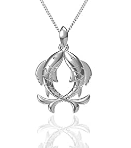 Exxotic Fashion Sterling Silver Pisces Zodiac Pendant Idol Gift for Her and Him