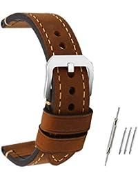 omyzam Correa Reloj Vintage de Cuero Genuino Marrón Repuesto Correa con Hebilla Pequeña de Acero Inoxidable Compatible con Relojes Tradicionales, Deportivos o Smartwatch 24mm