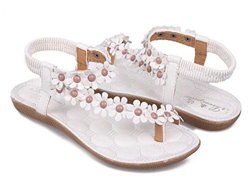 Fortuning's JDS Bohemia fiori e perline di flip-flop sandali piani per le donne Bianco