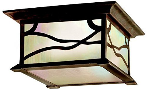 Kichler Lighting 9838DCO Morris 2-Light Flush Mount Outdoor Ceiling Light, Distressed Copper Finish with Inside-Etched Iridized Seedy Glass by Kichler
