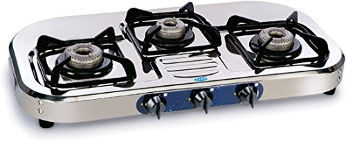 Glen Kitchen Cooktop GL 1037 SS AL Stainless Steel 3 Burner Manual Gas Stove  available at amazon for Rs.3599