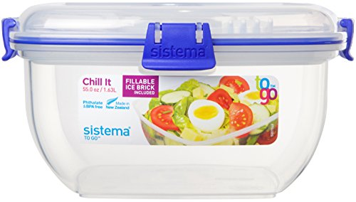 Sistema To Go Chill It Lunchbox with Ice Block, Dressing Pot and Cutlery - 1.63L