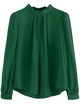 OverDose camisetas blusas manga larga para mujer doblar la gasa de las tapas flojas XS-XL