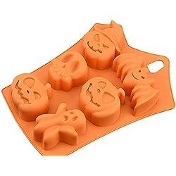 ledgoo bate de Halloween Decoración de Pasteles (6agujeros calabaza fantasma calavera tarta de Chocolate molde de silicona bandeja de hielo molde el envío gratuito
