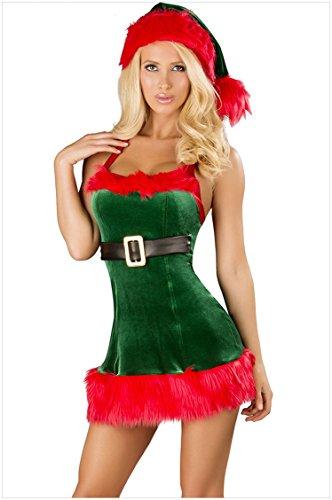 Honeystore 2017 Neuheiten Sexy Weihnachtsmann Kostüm Elfe Weihnachten Santa Weihnachtsfrau Damen Outfit Grün (Machen Kinder Kostüm Frosch)