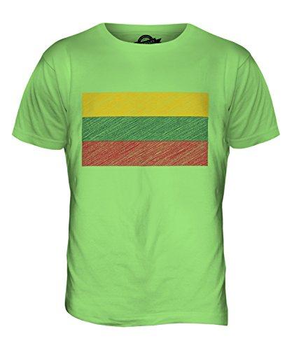 CandyMix Litauen Kritzelte Flagge Herren T Shirt Limettengrün