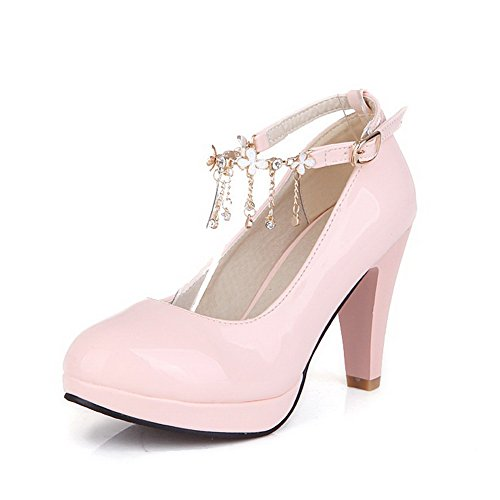 VogueZone009 Femme Rond à Talon Haut Verni Couleur Unie Boucle Chaussures Légeres Rose