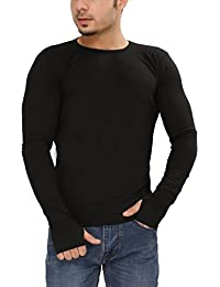 Tees Collection Men's Cotton Full Sleeve Thumb Hole Cuffs Black Color Basic T-Shirt