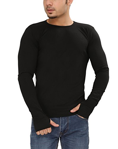 Tees Collection Men's Cotton Full Sleeve Thumb Hole Cuffs Black Color Basic T-Shirt (Large)