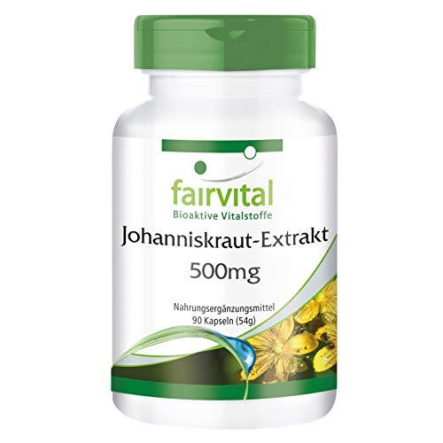 Johanniskraut-Extrakt 500mg - für 1 Monat - VEGAN - HOCHDOSIERT - 90 Kapseln - standardisiert auf...