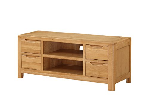 Hartselle Grand meuble TV en chêne massif – Meuble TV plasma en chêne massif avec 4 portes – Finition : rustique en chêne – Meuble de salon