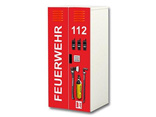 feuerwehr wandtattoo Stikkipix Feuerwehr Aufkleber-Set | SC35 | passend für den Kinderzimmer Schrank STUVA von IKEA (Korpus: 60 x 128 cm) | Möbel Nicht Inklusive