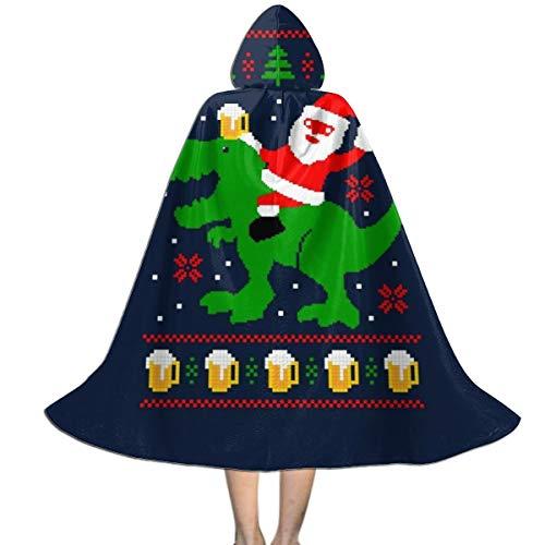 NUJSHF Unisex Kapuzenumhang mit Weihnachtsmann-Trex-Bier, Hässliches Weihnachten, Strickmuster, Halloween, Weihnachten, Party, Dekoration, Rolle, (Bier Kann Hunde Kostüm)