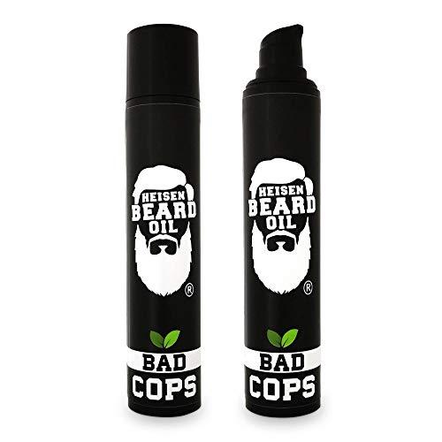 Duftsieger 2019 - Heisen Beard Oil 3 in 1 Bartöl - 50 ML - BAD COPS - spritzig/frisch - Pflege - Geschmeidigkeit - Stärkung der Barthaare - Made in Germany - Bartpflege - Bartwachstum - Beard Oil